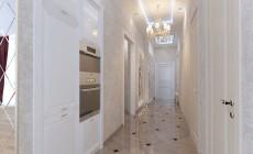 Прихожая 4 кв. м и длинный коридор в трехкомнатной квартире, классический стиль
