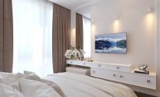 Спальная комната 12 кв. м в трехкомнатной квартире, современная классика