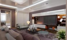Гостиная-столовая 40 кв. м в двухкомнатной квартире, современный стиль