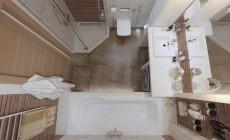 Ванная комната 7 кв. м в двухкомнатной квартире, современный стиль