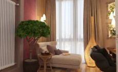 Спальная комната 20 кв. м в двухкомнатной квартире, современный стиль