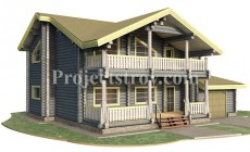 Проект загородного дома из бревна 15 х 12.8 м