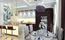 Гостиная-кухня 30 кв. м, стиль эклектичный
