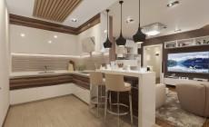 Кухня-гостиная 35 кв. м в современном стиле