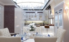 Гостиная-кухня в трехкомнатной квартире, современный классический стиль