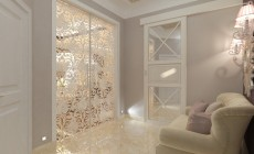 Прихожая и коридор в трехкомнатной квартире, современный классический стиль