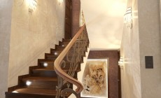 Лестница 3 кв. м в загородном доме, классический стиль