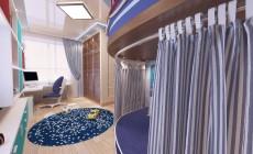 Детская комната 16 кв. м для мальчика на втором этаже загородного дома