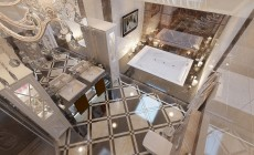 Ванная комната 8 кв. м для хозяев на третьем этаже загородного дома