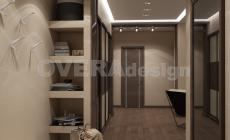Проект 3хкомнатной квартиры в теплой цветовой гамме