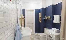 Совмещенный санузел с яркой синей стеной