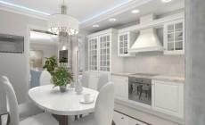Гостиная и кухня в Неоклассическом стиле.