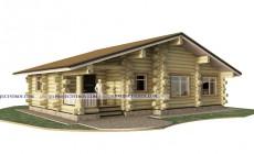 Одноэтажный деревянный дом в диком срубе