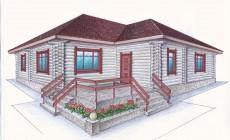 Проект одноэтажного дома из оцилиндрованного бревн