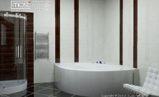 Брутальная ванна с черным потолком