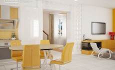 Белый, желтый и серый - ярко и светло.