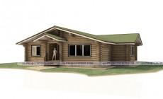 Деревянный одноэтажный дом 15 х 13 м