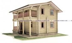 Деревянный дом из лафета 7.2 x 8.2 м