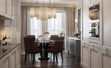 Дизайн интерьера кухни и столовой зоны. 3D визуализация