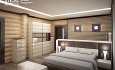 Современная спальня в доме из круглого бруса