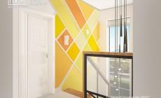 Холл с лестницей - в сочных цитрусовых цветах