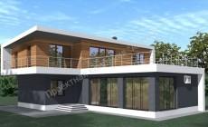 2-этажный дом в стиле минимализма с террасой