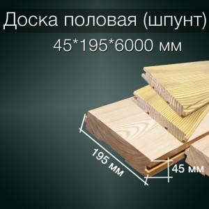 Половая доска (шпунт) 45х195х6000 мм