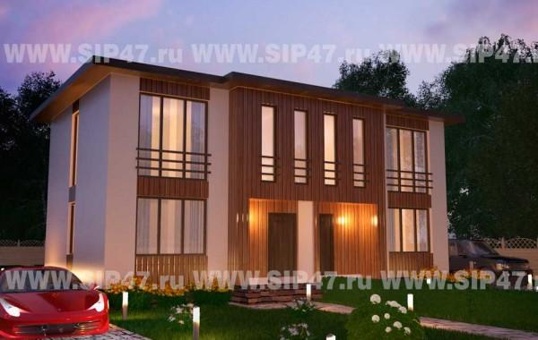 Типовой проект дома из СИП-панелей №6 (Дом на две семьи)
