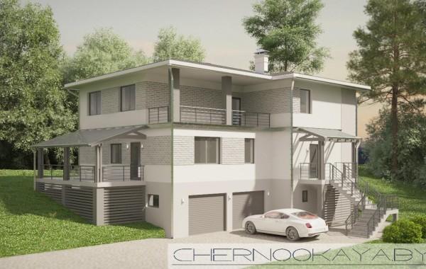 Проект дома на склоне №1538