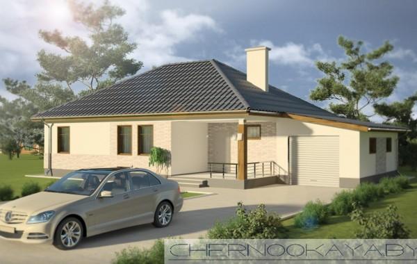Проект одноэтажного дома с гаражом №1535-2