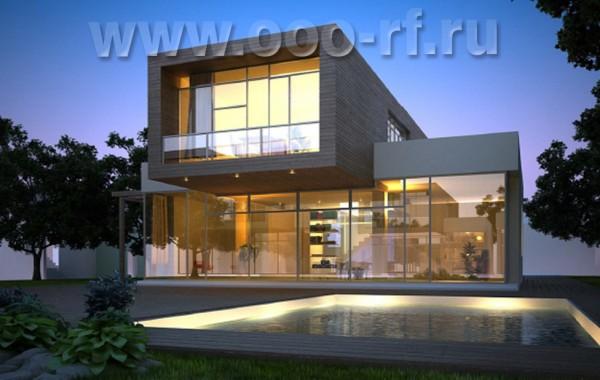 Современный дом с прямой крышей