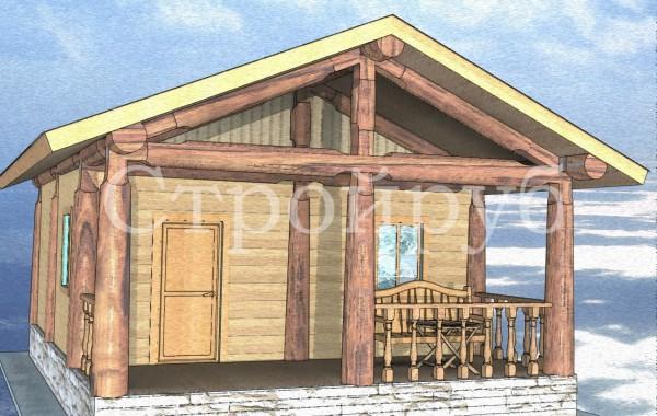 Каркасный дом 6 х 7.9 м с террасой