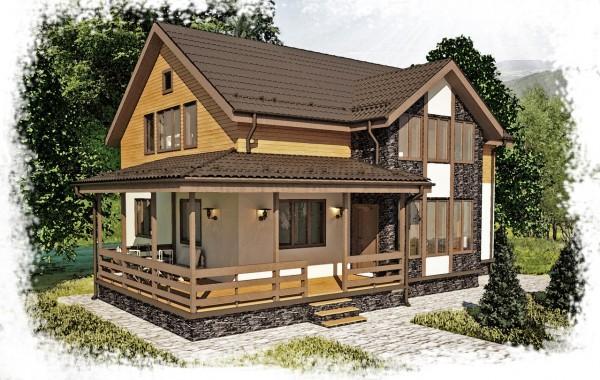 Проект каркасного дома К-7. Общая площадь 225 м2.