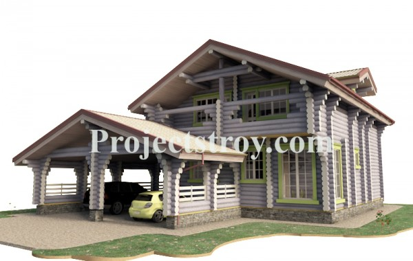Проект деревянного дома из бревна + разбревновка