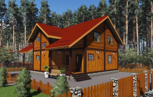 Деревянный жилой дом по технологии фахверк КФ-250