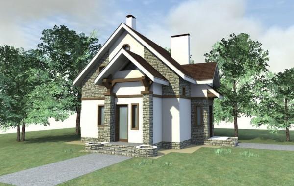 Проект одноэтажного жилого дома с мансардой на 2 с