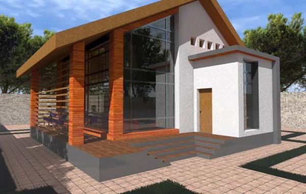 Эскизный проект 1-этажного коттеджа на 2 спальни с