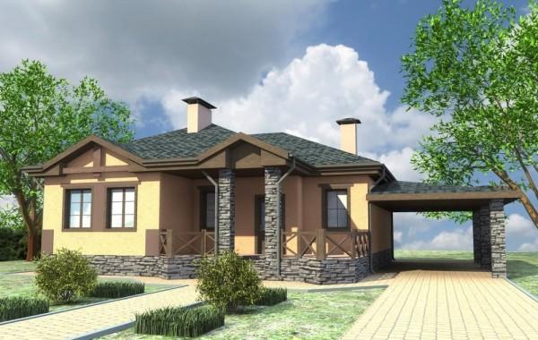 Проект одноэтажного дома с 3 спальнями и гостиной