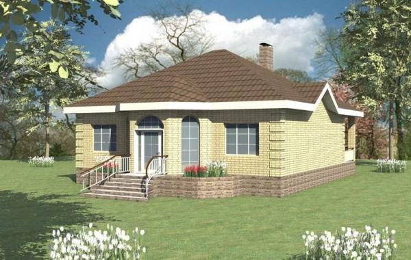 Проект одноэтажного дома с гостиной и кухней-столо