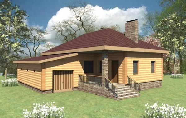 Проект одноэтажного дома на две спальни с кухней-с