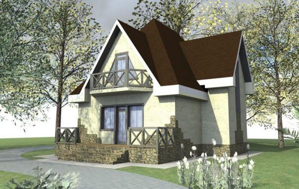 Готовый проект одноэтажного дома с мансардой, 3 сп
