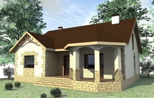 Проект 1-этажного дома на три спальни