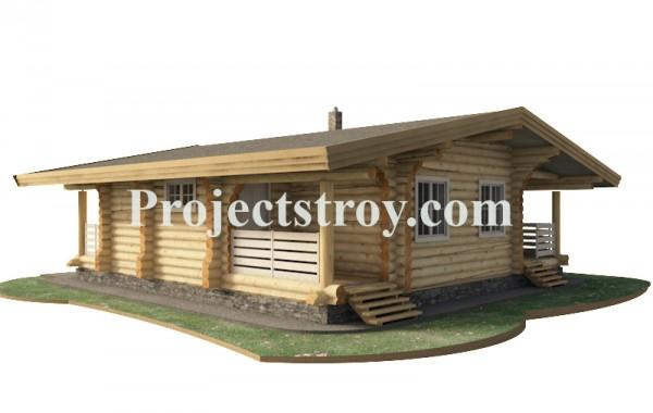 Одноэтажный деревянный дом - шале из бревна