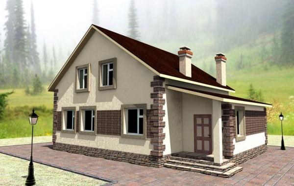 Эскизный проект одноэтажного дома с мансардой