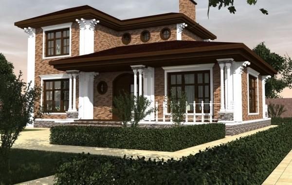 Проект двухэтажного дома с 3 спальнями