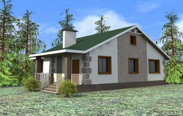 Проект одноэтажного дома с 3 спальнями