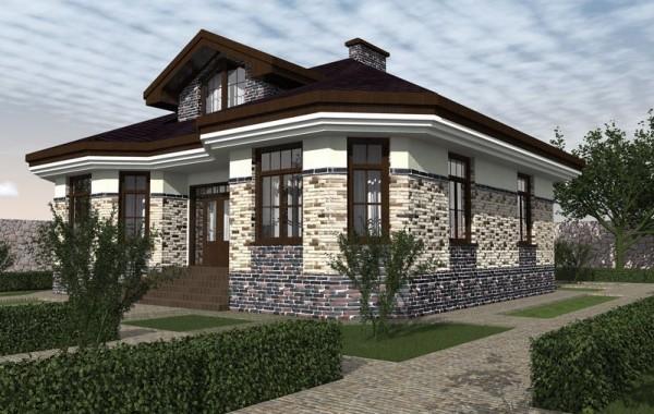 Проект одноэтажного дома с 3 спальнями и мансардой