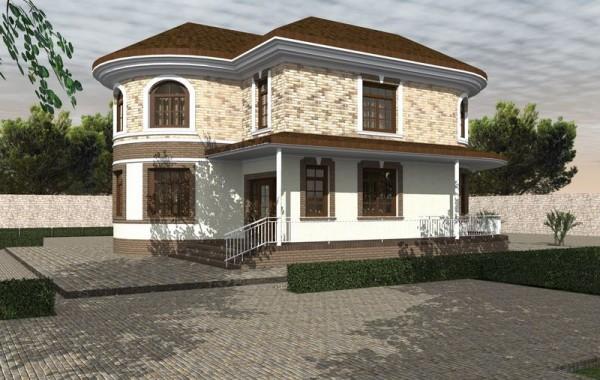Проект двухэтажного дома с 4 спальнями и террасой