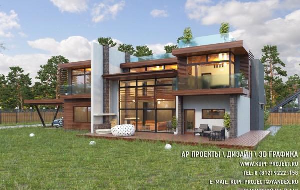 АР Проект Дома Хай-тек 25х15