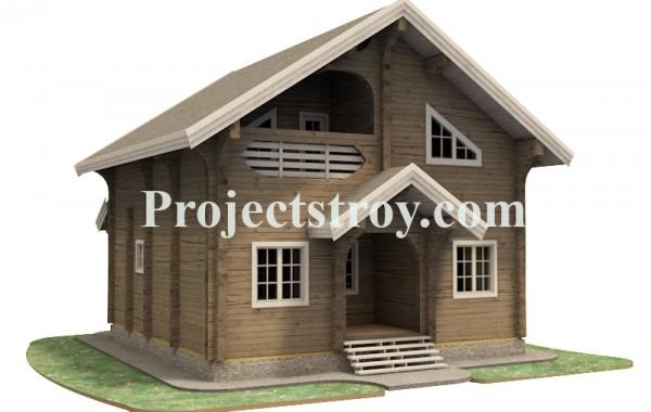 Проект деревянного дома из бруса 8 на 8 метров